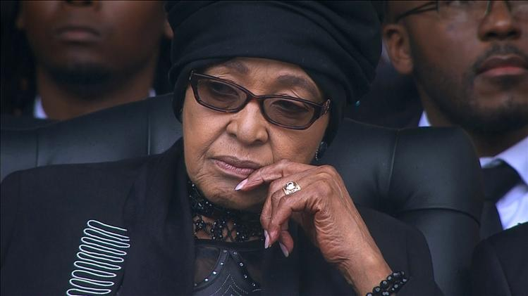 Winnie Mandela is seen during Nelson Mandela's national memorial service in Johannesburg