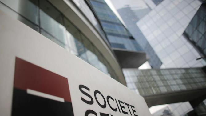 A logo is seen is seen in front of French bank Societe Generale headquarters in La Defense near Paris