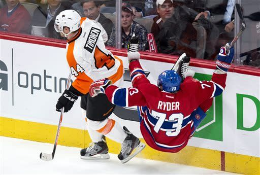 Hartnell hat trick lifts Flyers over Canadiens 7-3