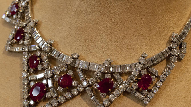 Elizabeth Taylor's ruby and diamond necklace, a gift of Mike Todd, estimated at $200,000 - $300,000, is shown in this photograph at Christie's, in New York, Thursday, Sept. 1, 2001. Christie's auction house is selling her complete jewelry collection in New York on Dec. 13-14. (AP Photo/Richard Drew)