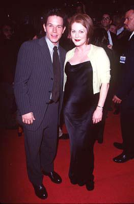 Mark Wahlberg and Julianne Moore at the Hollywood premiere of New Line's Boogie Nights