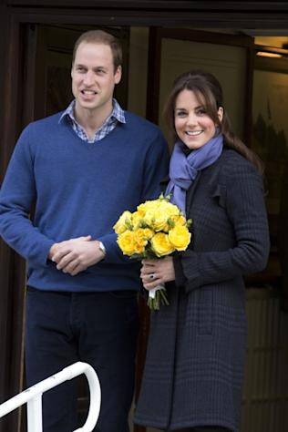 Catherine, Duchess of Cambridge and Prince William, Duke of Cambridge leave the King Edward VII hospital where she has been treated for extreme morning sickness at King Edward VII Hospital in London on December 6, 2012 -- Getty Premium