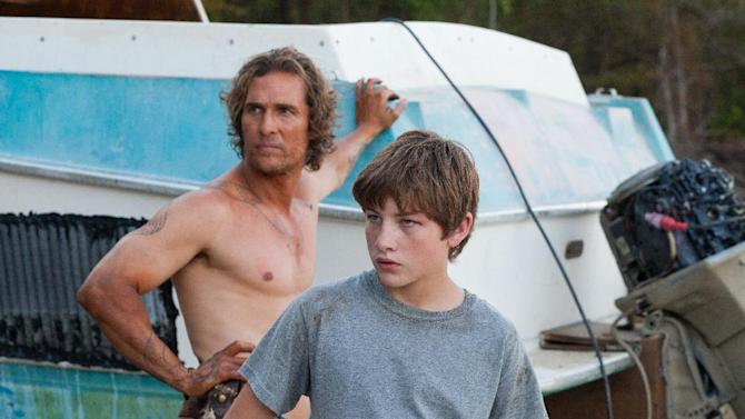"""This film image released by Roadside Attractions shows Matthew McConaughey, left, and Tye Sheridan in a scene from """"Mud."""" (AP Photo/Roadside Attractions, Jim Bridges)"""