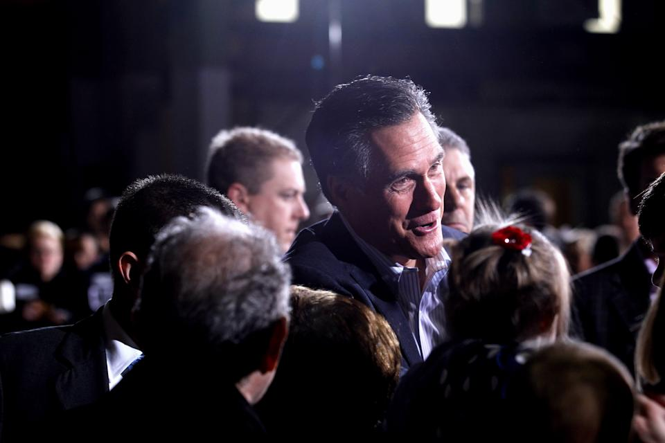 Republican presidential candidate, former Massachusetts Gov. Mitt Romney greets supporters at American Posts in Toledo, Ohio, Wednesday, Feb. 29, 2012. (AP Photo/Gerald Herbert)
