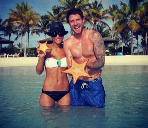 Celebrity photos: Frankie Sandford enjoyed a well deserved holiday with boyfriend Wayne Bridge last week. The pair showed off their amazing beach bodies, posing for a photo in the sea. Copyright [Fran