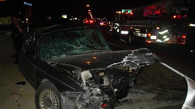 This photo taken Aug. 11, 2011, provided by the National Transportation Safety Board (NTSB), shows damage to wrong-way vehicle from the Dallas. Hundreds of people are killed each a year when drivers turn the wrong-way into the face of oncoming traffic on high-speed highways, and a majority of the crashes involves drivers with blood alcohol levels more than twice the legal limit, a federal accident researcher said Tuesday. (AP Photo/NTSB)