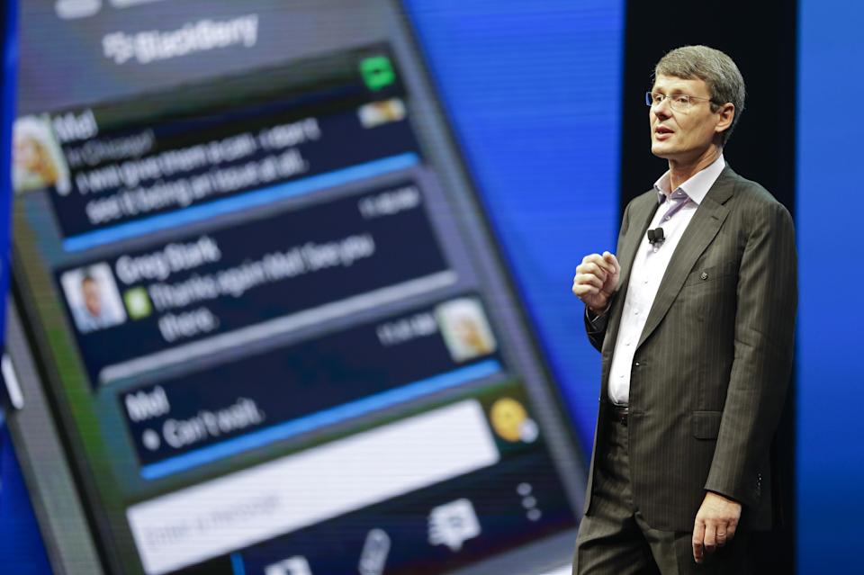 Thorsten Heins, president and CEO at BlackBerry speaks at a conference, Tuesday, May 14, 2013, in Orlando, Fla. (AP Photo/John Raoux)