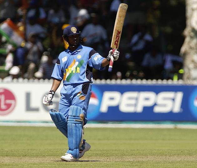 Sachin Tendulkar of India celebrates his 150 runs