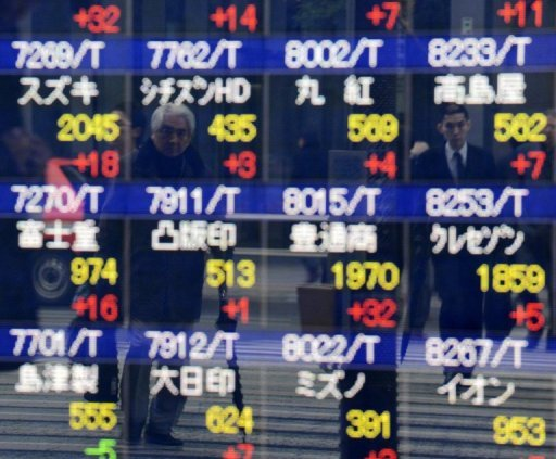 &lt;p&gt;Pedestrians are reflected on a share prices board in Tokyo on December 17, 2012. Tokyo stocks opened 0.50 percent higher on Wednesday with the lower yen heartening investors&lt;/p&gt;