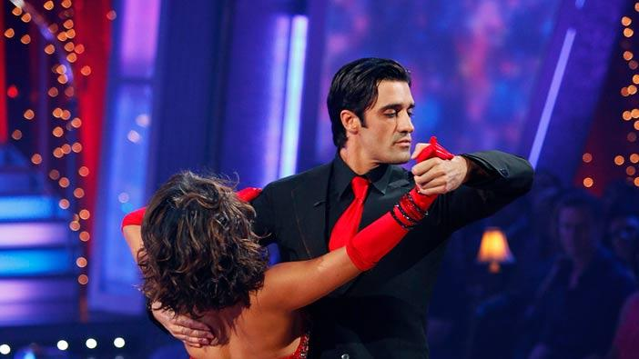 "Gilles Marini and Cheryl Burke perform the Foxtrot to ""Fever"" by Peggy Lee on ""Dancing with the Stars."""
