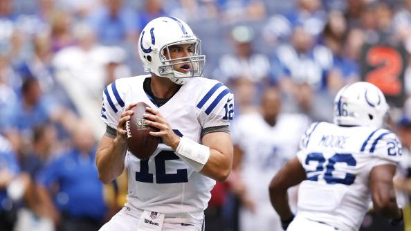 Andrew Luck #12 of the Indianapolis Colts looks to pass the ball against the St. Louis Rams during a preseason NFL game at Lucas Oil Stadium on August 12, 2012 in Indianapolis, Indiana. (Photo by Joe Robbins/Getty Images)