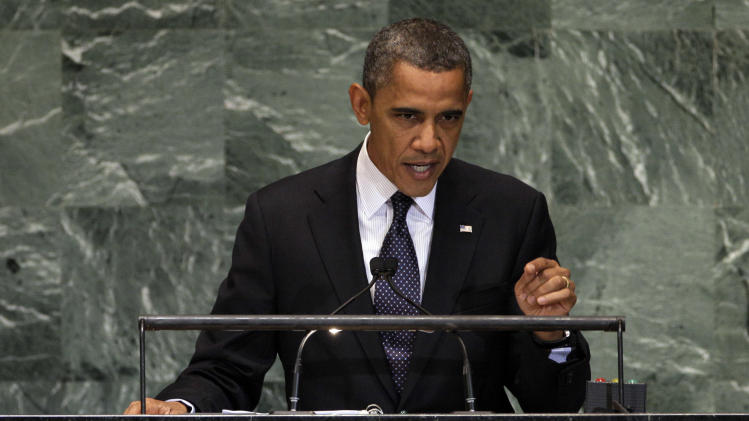 President Barack Obama addresses the 67th session of the United Nations General Assembly,  Tuesday, Sept. 25, 2012. (AP Photo/Richard Drew)