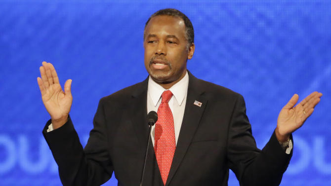 Republican presidential candidate, retired neurosurgeon Ben Carson answers a question during a Republican presidential primary debate hosted by ABC News at the St. Anselm College  Saturday, Feb. 6, 2016, in Manchester, N.H. (AP Photo/David Goldman)