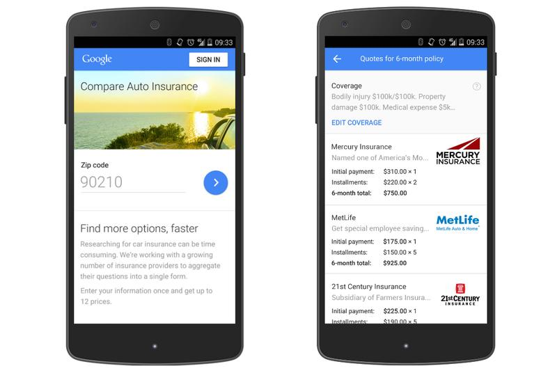 Google now lets you compare auto insurance quotes in California, will launch in more states soon