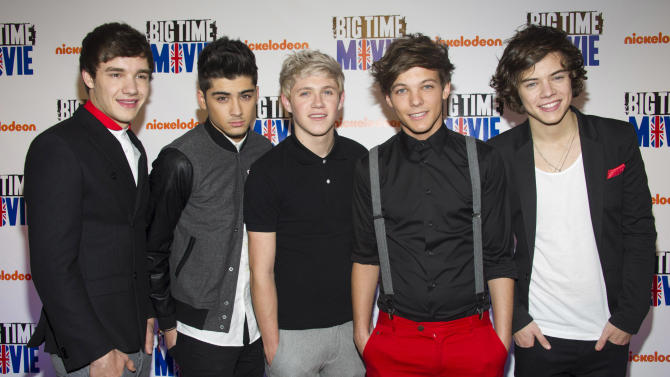 "FILE - In this March 8, 2012 file photo, members of the band One Direction, from left, Liam Payne, Zayn Malik, Niall Horan, Louis Tomlinson and Harry Styles attend the premiere of the Nickelodeon TV movie ""Big Time Movie"" in New York. One Direction, who came in third place on the UK's ""X Factor"" in 2010, is one of many boy bands who have recently emerged on the music scene since *NSYNC and Backstreet Boys dominated pop music in the 1990s. (AP Photo/Charles Sykes, file)"