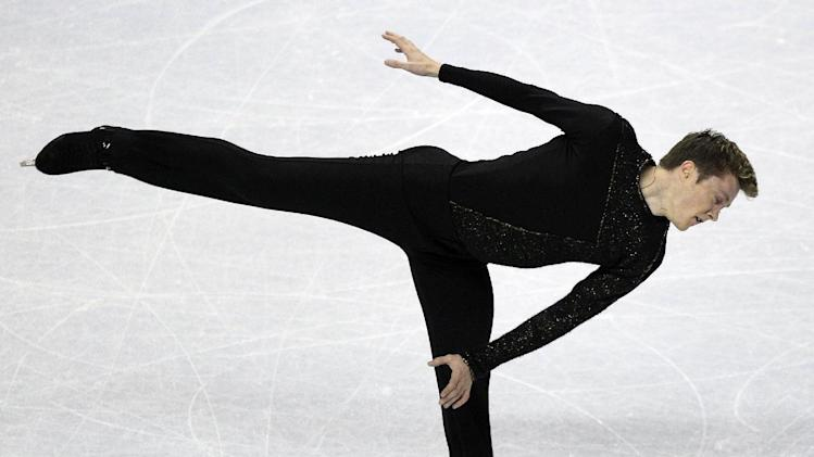 Jeremy Abbott competes in the men's free skate at the U.S. Figure Skating Championships in San Jose, Calif., Sunday, Jan. 29, 2012. (AP Photo/Marcio Jose Sanchez)