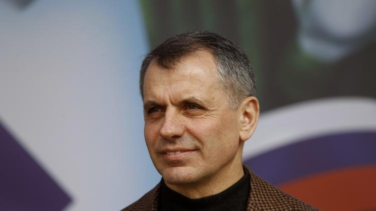 Konstantinov, speaker of the Crimean parliament, attends a pro-Russian rally in Simferopol