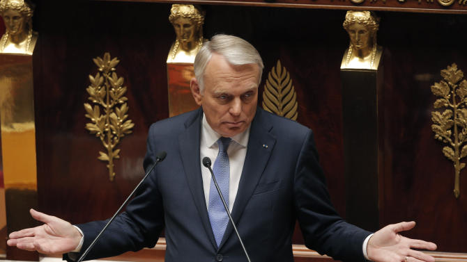 France's Prime Minister Jean Marc Ayrault delivers a speech at the National Assembly in Paris, Wednesday, Sept. 4, 2013. Ayrault addressed parliament during a debate to rally support for a military strike again Syria. The U.S. and France accuse Assad's Syrian government of using chemical weapons in an Aug. 21 attack on rebel-held suburbs of Damascus that killed hundreds.(AP Photo/Christophe Ena)