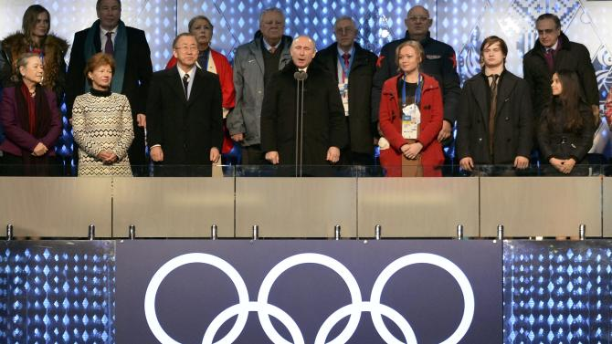 Russian President Putin declares the Olympic Games open during the opening ceremony of the 2014 Sochi Winter Olympics in Sochi