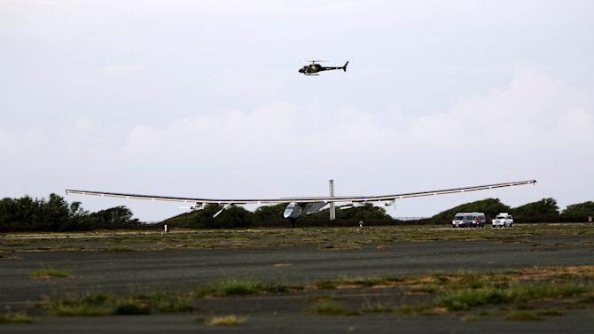 The Solar Impulse 2 airplane lands at Kalaeloa Airport in Kapolei after flying non-stop from Nagoya