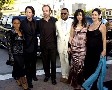 Premiere: Jada Pinkett Smith, Keanu Reeves, Hugo Weaving, Laurence Fishburne, Monica Bellucci and Carrie Anne Moss set up a camera and wait for the timer at the Hollywood premiere of Warner Brothers' The Matrix: Reloaded - 5/7/2003