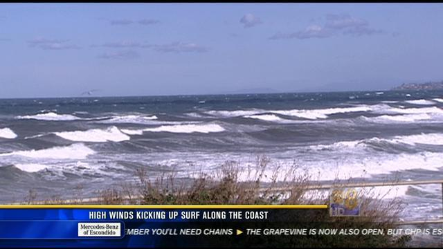 High winds kicking up surf along the coast
