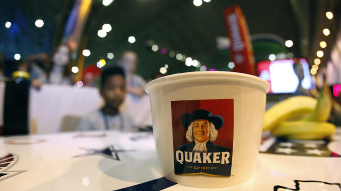 The Quaker logo is seen at the Quaker's NFL Experience in New Orleans on Wednesday, Jan. 30, 2013. (Jonathan Bachman / AP Images for Quaker Oats)