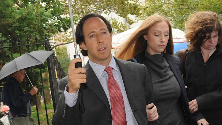 Former partner and trader with Incremental Capital LLC, Michael Kimelman exits Manhattan federal court, Wednesday, Oct. 12, 2011, in New York. He received a  two and one half year prison sentence for his securities fraud and conspiracy conviction. (AP Photo/ Louis Lanzano)