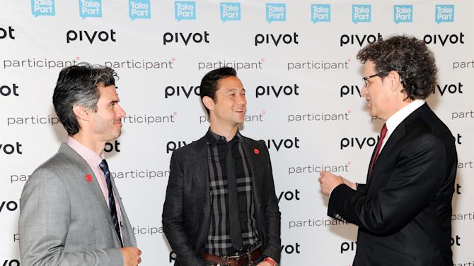 """Pivot president Evan Shapiro, left, actor, owner & founder of hitRECord, Joseph Gordon-Levitt and Participant Media CEO Jim Berk, right, attend Participant Media's """"pivot"""" cable network launch event at the Museum of Arts & Design on Wednesday March 27, 2013 in New York. (Photo by Evan Agostini/Invision/AP)"""