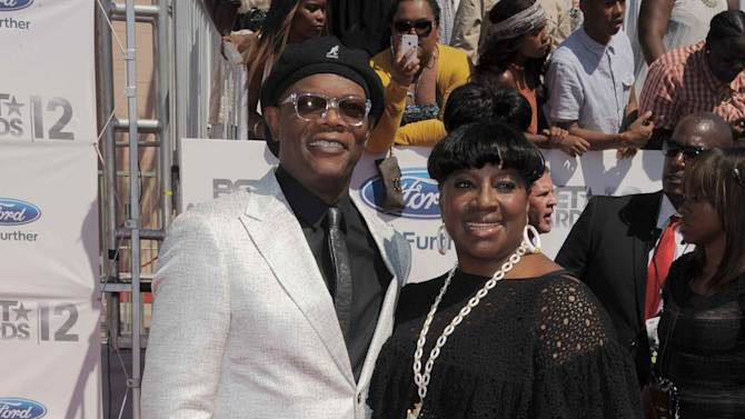 Host Samuel L. Jackson, left, and LaTanya Richardson arrive at the BET Awards on Sunday, July 1, 2012, in Los Angeles. (Photo by Jordan Strauss/Invision/AP)