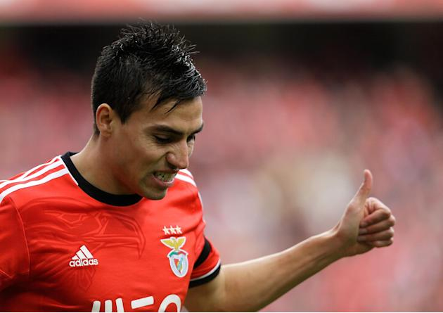 Benfica's Nico Gaitan, from Argentina, gestures during their Portuguese league soccer match with Estoril, Sunday March 9, 2014, at Benfica's Luz stadium in Lisbon. Benfica defeated Estoril 2-0