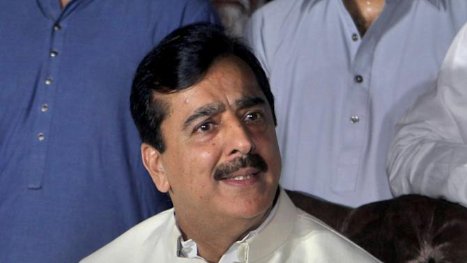 Pakistan's former Prime Minister Yusuf Raza Gilani speaks during a press conference in Multan, Pakistan, Sunday, May 24, 2015. Gilani said he has spoken to his son Ali Haider for the first time since his abduction in 2013. Gilani said Haider's captors are demanding the release of several al-Qaida militants held in Pakistani prisons, adding that he plans to take up those demands with Pakistani officials. (AP Photo/Asim Tanveer)