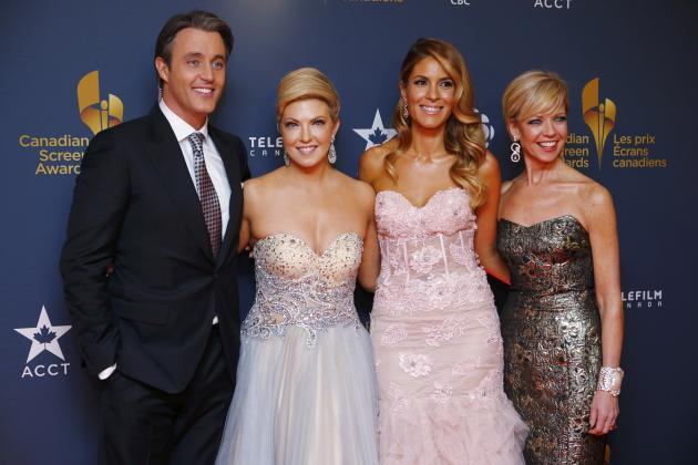 TV personalities Brian Mulroney, Cheryl Hickey, Dina Pugliese and Heather Hiscox, arrive on the red carpet at the 2014 Canadian Screen awards in Toronto