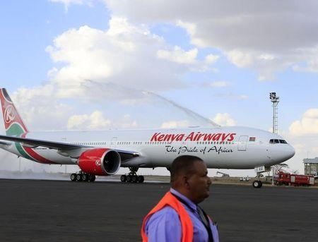 Kenya Airways newly acquired Boeing 777-300ER aircraft arrives at the Jomo Kenyatta International Airport in Nairobi