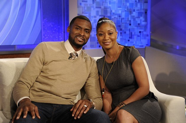 "Keyon and Natosha Dooling on the set of ""Katie"" (Ida Mae Astute/ ABC via Getty Images)."
