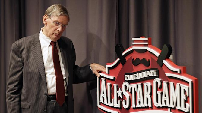 Baseball commissioner Bud Selig answers questions at a news conference, Friday, Aug. 22, 2014, prior to a baseball game between the Cincinnati Reds and the Atlanta Braves in Cincinnati. Cincinnati hosts the All-Star game in 2015. (AP Photo/Al Behrman)