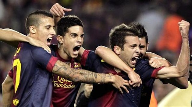 Jordi Alba, Tello y Bartra celebran el gol ante el Celtic