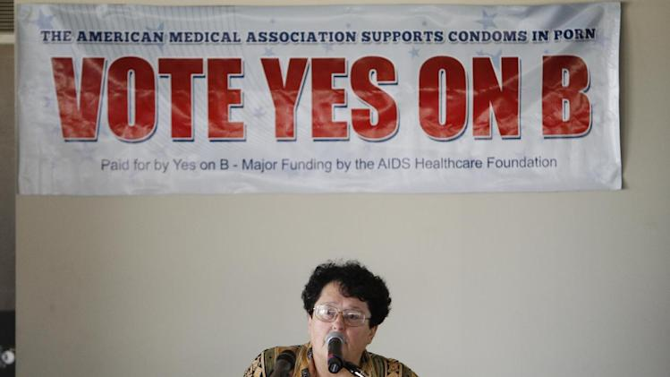 Miki Jackson, AHF Consultant & Ballot Measure Proponent  attends a Press Conference & Teleconference presented by AHF & health advocates to unveil 'Vote Yes on B' condoms in porn ballot election campaign, on Monday, September 17, 2012 in Los Angeles, Calif. (Joe Kohen /AP Images for AIDS Healthcare Foundation)