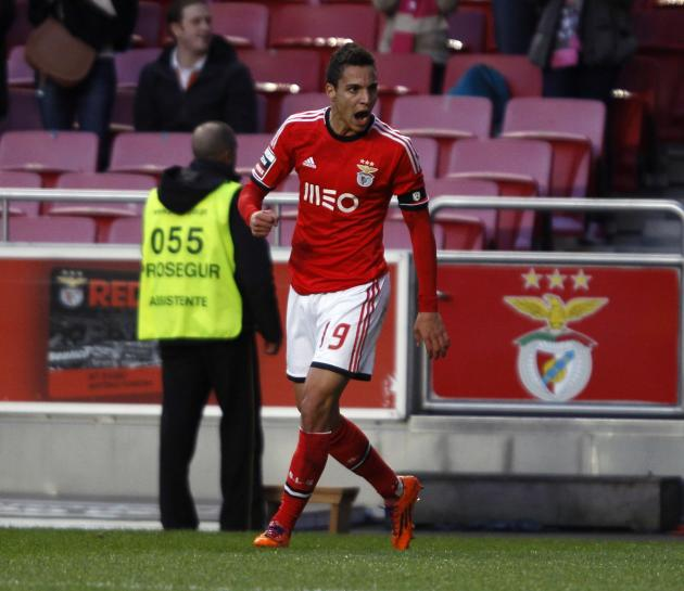 Benfica's Rodrigo Machado celebrates his goal against Maritimo during their Portuguese Premier League match in Lisbon