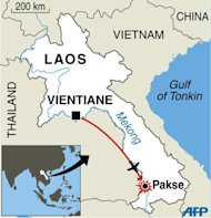 Map locating Pakse in Laos, near to where a jetliner crashed killing all 44 people on board