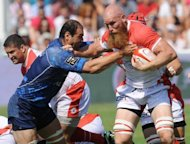 Biarritz's second row Erik Lund (R) clashes with Montpellier's second row Mamuka Gorgodze during their French Top 14 rugby union match at the Aguilera stadium in Biarritz, southwestern France. Biarritz made it four wins from four games this season in the Top 14 as they thrashed Montpellier 27-8