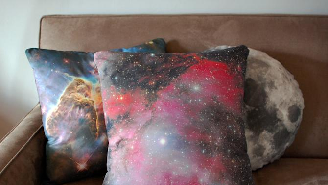This image taken on November 6, 2012 provided by Pillars of Creation shows galaxy pillow covers (www.etsy.com/shop/pillarsofcreation) printed with images from the Hubble telescope in Portland, Oregon. (AP Photo/Pillars of Creation, Rachel Jacks)