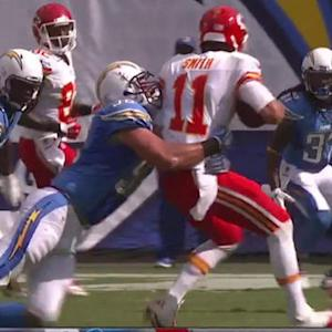 San Diego Chargers linebacker Jarret Johnson sacks Kansas City Chiefs quarterback Alex Smith