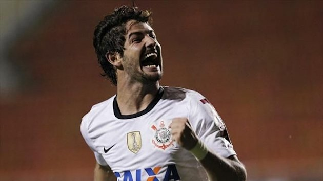 Alexandre Pato of Brazil's Corinthians celebrates after scoring against Colombia's Millonarios during their Copa Libertadores match (Reuters)