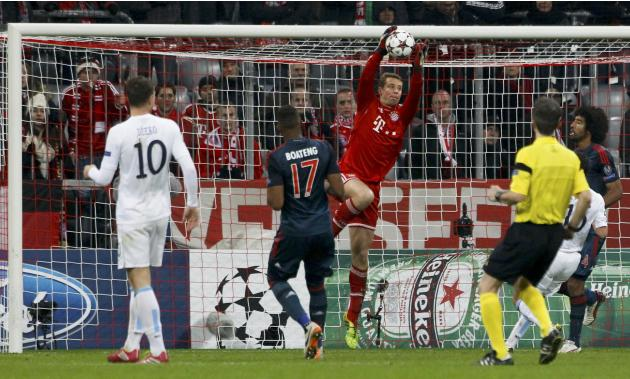 Bayern Munich's goalkeeper Neuer makes a save during their Champions League Group D soccer match against Manchester City in Munich