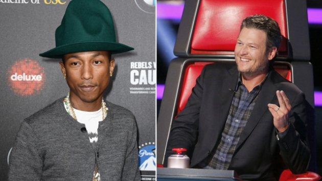 Pharrell Williams, Blake Shelton -- NBC/Getty Images