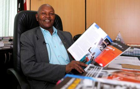 Head of Kenya's Olympics committee Keino speaks during a Reuters interview inside his office in Kenya's capital Nairobi