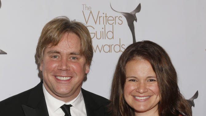 Stephen Chbosky and guest attend the 2013 Writers Guild Awards at the JW Marriott on Sunday, Feb. 17., 2013 in Los Angeles. (Photo by Todd Williamson/Invision/AP)