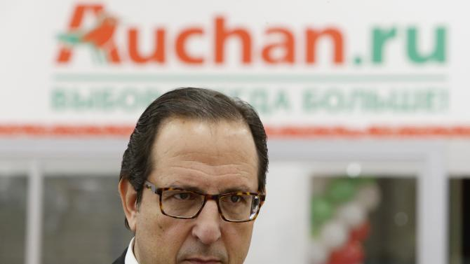French grocery retailer Auchan's General Manager for hypermarkets Baroukh attends a ceremony at their new outlet on the day of its opening in Moscow
