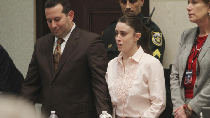 Casey Anthony and her lawyer, Jose Baez, left, react to her being found not guilty of murder charges in Orlando, Fla., Tuesday, July 5, 2011.   (AP Photo/Red Huber, Pool)